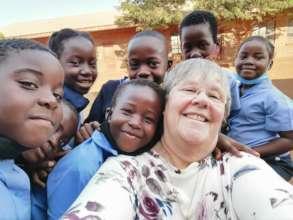 Louise and some of the children from Myakayuka