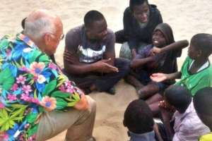 Chuck in conversation with talibe children