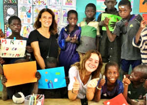 Katia and Mila with children in the classroom