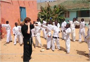 Robbie with his class, in MDG's Saint-Louis center