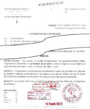 Order declaring Maison de la Gare to be an NGO