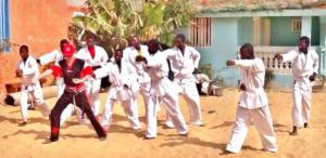 Robbie teaching the first MDG talibe karate class
