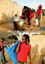Abou Sy and community women prepare evening meal