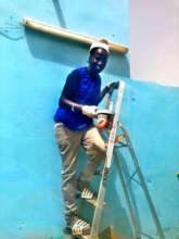 Always ready to help, here repainting the center