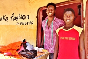 With his apprenticeship mentor, the tailor Baka