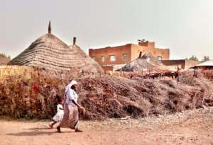 The village, a mix of straw and brick houses