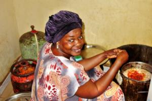 Cook Oumou prepares nutritious filling for buns