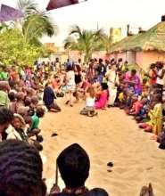 Children gather for thank you celebration