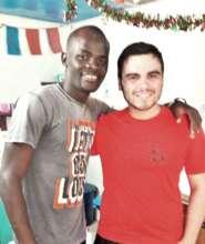Xavier with his friend, the teacher Abdou