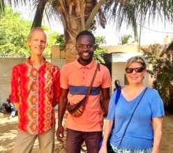 Eva and Oyvind with teacher Abdou