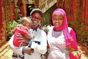 Cheikh with his wife Ndeye and their son Amadou
