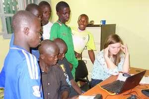 Rowan initiating Skype call with Ottawa classmates