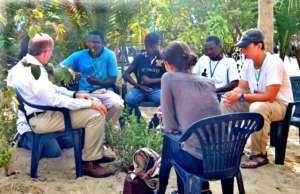 Sam with talibe leaders and US ambassador Zumwalt