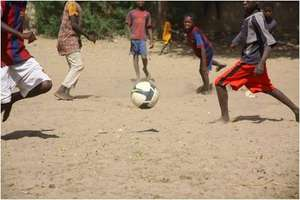 Happy talibes in a football match