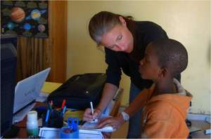 Gwen questioning a talibe child for the census