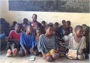 Talibe children awaiting their turn to be counted