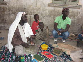 Issa with Marabout Seck and talibes in their daara