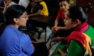 Volunteer mentoring session at Open School