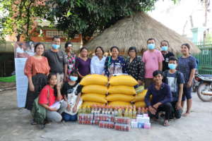 Our community members collecting supplies