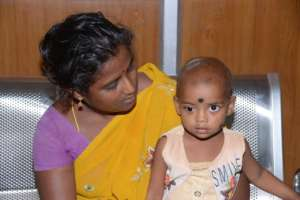 Chella and her mother after treatment at Aravind.