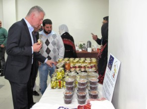 UNRWA officials checking out our produce.