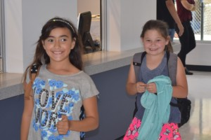 First kids walking into the new Club - so excited!