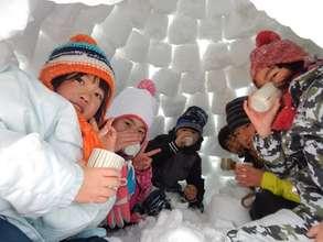 drinking tea in snow house