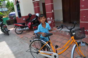 A boy with his new bike