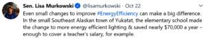 Tweet Senator Murkowski sent during my testimony.