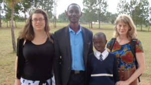 Wivina with Jessica, Headteacher, and Gayle