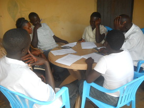 Students having a group discussion at the center