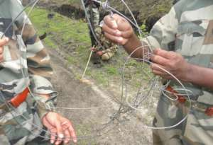 Forest officials with recovered snares
