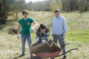 Taras, Dima and Kostya collect firewood.