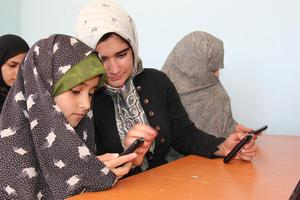 Students in  Mobile Literacy Class