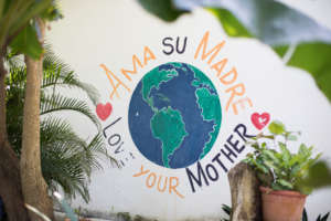 Mariposa Garden Mural says Love Your Mother Earth!