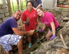 Volunteers and locals working together!