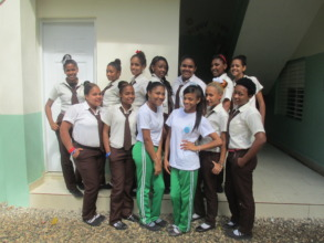 Some of our high school girls in uniform at school