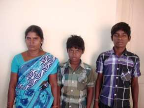 Sriram with his mother and brother
