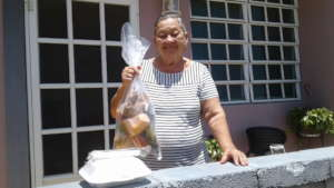 Participant with meal & vegetables