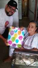 Participant with surprise present