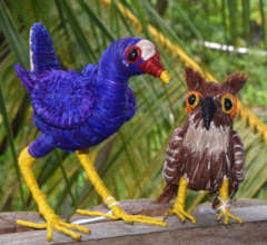 Purple gallinule and tropical screech owl ornament