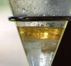 Copal oil in separatory flask