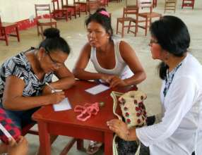 Artisans describing handicraft for product catalog