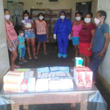 Donated medical supplies and health post team