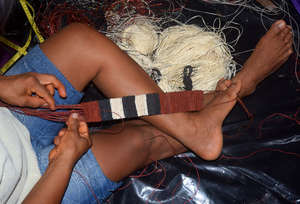 Weaving naca naca guitar strap. Photo: Plowden/CAC