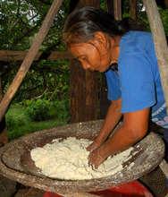 Bora woman straining yucca root mash in basket