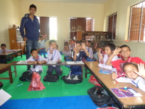 Students being happy after getting chocolates
