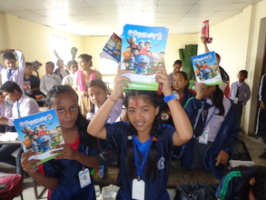 Students showing Stationery