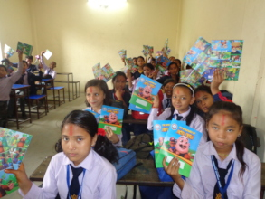 Students showing their copies