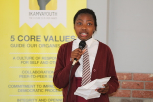 One of the learners giving her Thank you speech